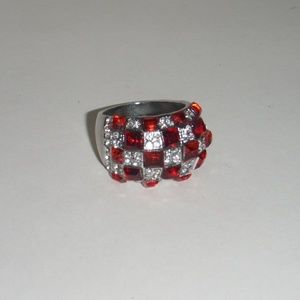 Jewelry - Red & White Gemstone Checkered Fashion Ring